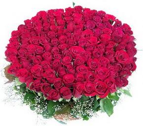 Van online çiçekçi , çiçek siparişi  100 adet kırmızı gülden görsel buket
