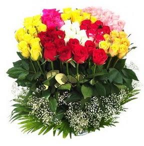 Van çiçek mağazası , çiçekçi adresleri  51 adet renkli güllerden aranjman tanzimi