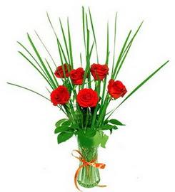 Van çiçek , çiçekçi , çiçekçilik  6 adet kırmızı güllerden vazo çiçeği