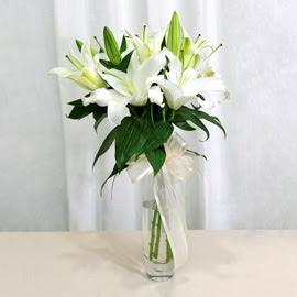 Van anneler günü çiçek yolla  2 dal kazablanka ile yapılmış vazo çiçeği