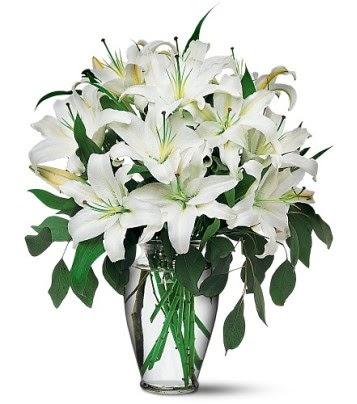 Van internetten çiçek satışı  4 dal kazablanka ile görsel vazo tanzimi