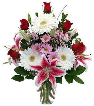 Van çiçek mağazası , çiçekçi adresleri  1 dal kazablanka 5 gül ve kırçiçeği vazosu