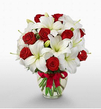 Van hediye çiçek yolla  1 dal kazablanka 11 adet kırmızı gül vazosu