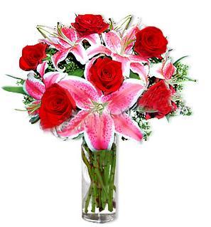 Van çiçek yolla  1 dal cazablanca ve 6 kırmızı gül çiçeği