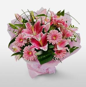 1 dal kazablanka ve kır çiçek görsel buketi  Van internetten çiçek satışı