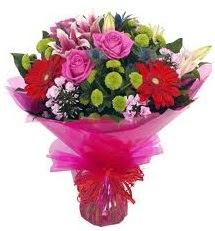 Karışık mevsim çiçekleri demeti  Van online çiçek gönderme sipariş