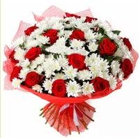 11 adet kırmızı gül ve beyaz kır çiçeği  Van internetten çiçek satışı