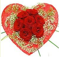 Mika kalp içerisinde 7 adet kırmızı gül  Van çiçekçi mağazası