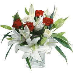 vazo içerisinde 4 gül 1 adet kazablanka  Van online çiçek gönderme sipariş