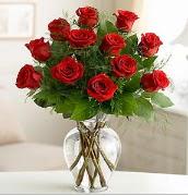 Vazo içerisinde 12 kırmızı gül  Van çiçek satışı