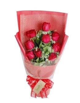 9 adet kırmızı gülden görsel buket  Van ucuz çiçek gönder