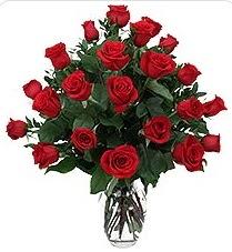 Van çiçek siparişi sitesi  24 adet kırmızı gülden vazo tanzimi