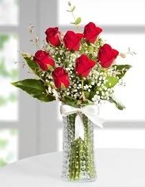 Cam vazoda 7 adet kırmızı gül  Van çiçek , çiçekçi , çiçekçilik