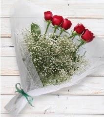 5 kırmızı gülden sade buket  Van çiçek yolla