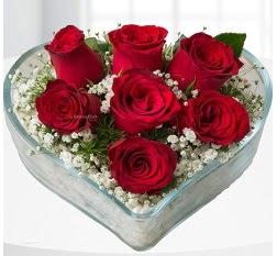 Kalp içerisinde 7 adet kırmızı gül  Van çiçek servisi , çiçekçi adresleri