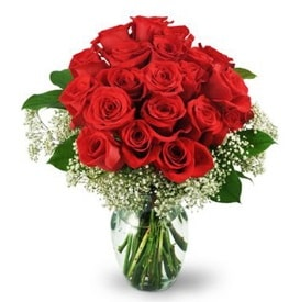25 adet kırmızı gül cam vazoda  Van çiçek , çiçekçi , çiçekçilik