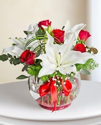 Fanus Vazoda 2 Lilyum ve 5 Gül Dansı  Van çiçek gönderme