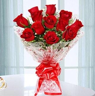 11 adet kırmızı gülden görsel şık buket  Van ucuz çiçek gönder