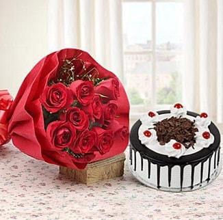 12 adet kırmızı gül 4 kişilik yaş pasta  Van çiçek , çiçekçi , çiçekçilik