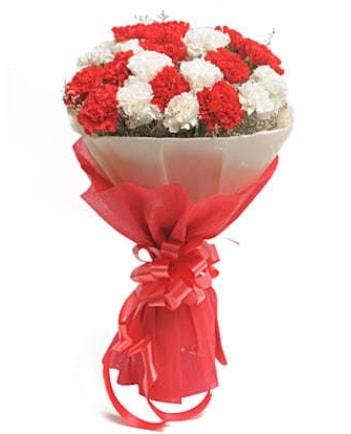 21 adet kırmızı beyaz karanfil buketi  Van çiçek satışı