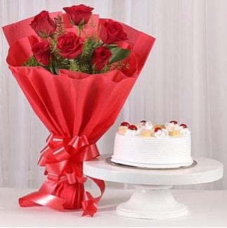 6 Kırmızı gül ve 4 kişilik yaş pasta  Van çiçek , çiçekçi , çiçekçilik