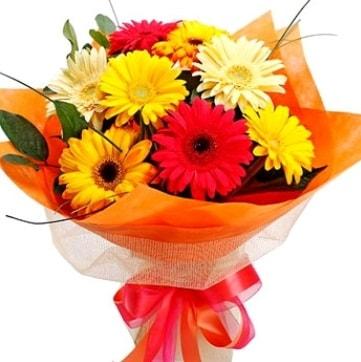 9 adet karışık gerbera buketi  Van çiçek , çiçekçi , çiçekçilik