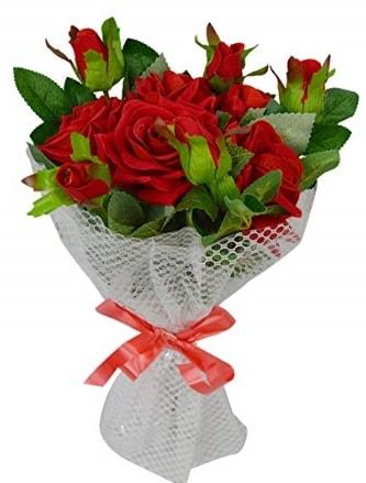 9 adet kırmızı gülden sade şık buket  Van çiçekçi telefonları
