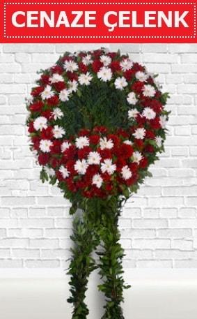 Kırmızı Beyaz Çelenk Cenaze çiçeği  Van İnternetten çiçek siparişi