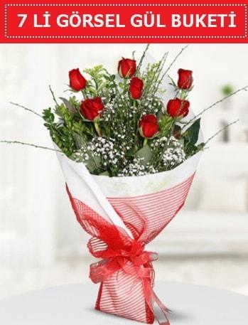 7 adet kırmızı gül buketi Aşk budur  Van çiçek satışı