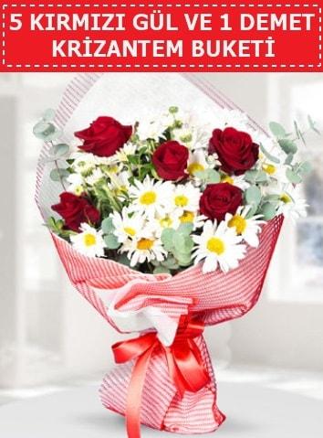 5 adet kırmızı gül ve krizantem buketi  Van çiçek satışı