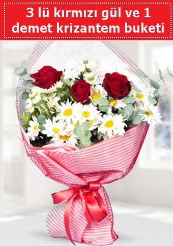 3 adet kırmızı gül ve krizantem buketi  Van çiçek gönderme sitemiz güvenlidir