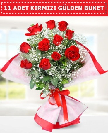 11 Adet Kırmızı Gül Buketi  Van internetten çiçek siparişi