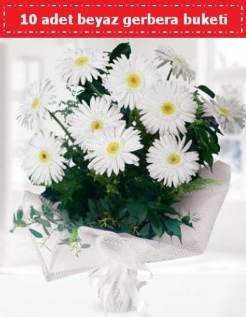 10 Adet beyaz gerbera buketi  Van çiçek , çiçekçi , çiçekçilik