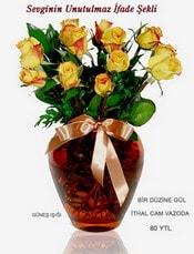Van internetten çiçek satışı  mika yada Cam vazoda 12 adet sari gül